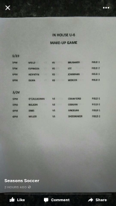 U6 make up schedule from week 1