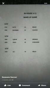 U11 make up game schedule from week 1